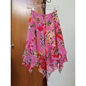 Lauren Ralph Lauren SILK Pink Floral Skirt